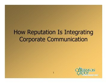 How Reputation Is Integrating Corporate Communication