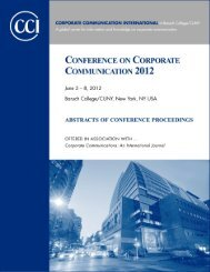 Proceedings: Conference on Corporate Communication 2012 Page 1