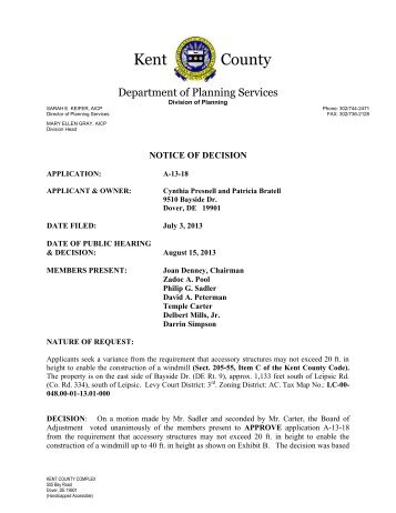NOTICE OF DECISION - Kent County Delaware