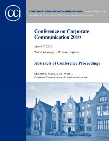 Abstracts of Conference Proceedings 2010 - Corporate ...