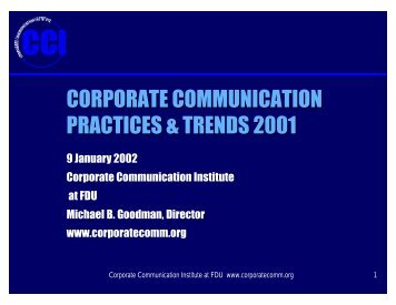 CORPORATE COMMUNICATION PRACTICES & TRENDS 2001