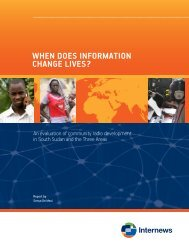 When does information change lives? - Internews
