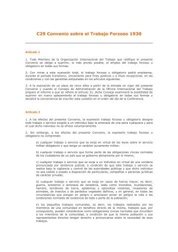 C29 Convenio sobre el Trabajo Forzoso 1930 - arl