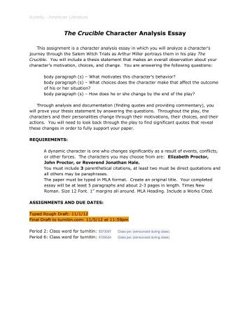 character analysis essay assignment