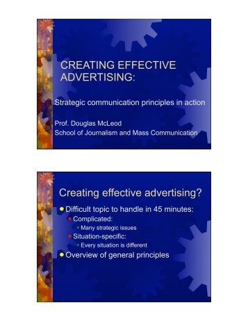 Creating effective advertising? - School of Journalism and Mass ...