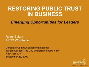 Restoring Public Trust in Business - Corporate Communication ...