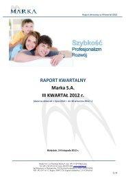 RAPORT KWARTALNY Marka SA III KWARTAŁ 2012 r. - NewConnect