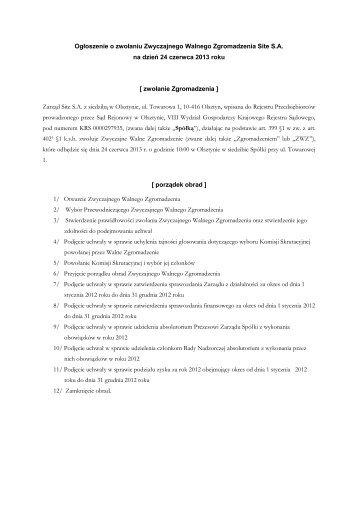 Ogłoszenie o zwołaniu ZWZ Site S.A. na dzień 24.06.2013r
