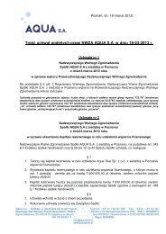 Treść uchwał podjętych przez NWZA AQUA S.A. w dniu 18-03-2013 r.