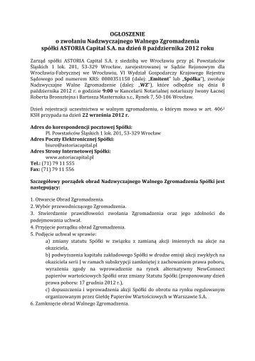 2012 10 08 - NWZ - Ogłoszenie o zwołaniu NWZ