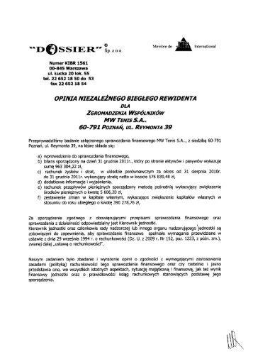 Opinia i raport z badania sprawozdania finansowego 2011 MW ...