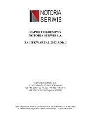 raport okresowy notoria serwis sa za iii kwartał 2012 roku