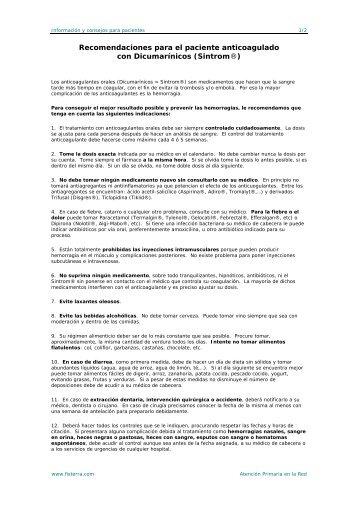 Recomendaciones para el paciente anticoagulado con - Fisterra