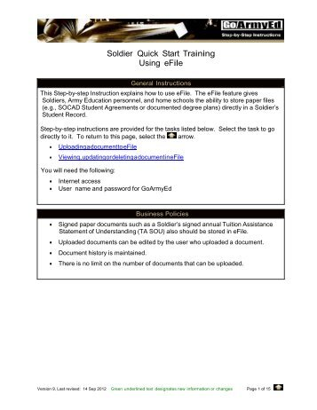 Soldier Quick Start Training Using EFile   GoArmyEd