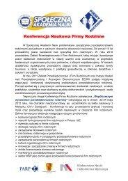 Konferencja Naukowa Firmy Rodzinne - Inicjatywa Firm Rodzinnych