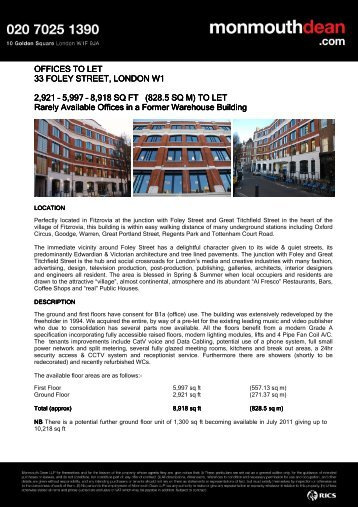 Foley Street 33 Long Form - Monmouth Dean