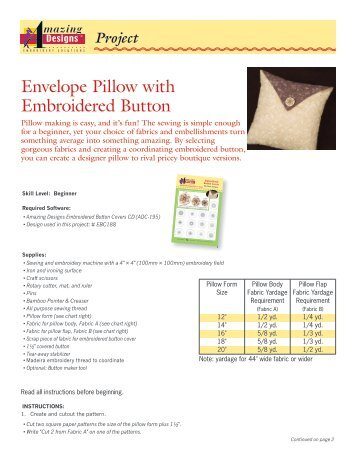 Envelope Pillow with Embroidered Button - Amazing Designs Blog