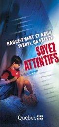 Harcèlement et abus sexuel, ça existe - Gouvernement du Québec