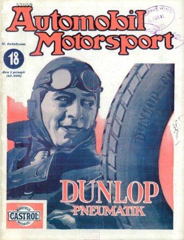 Automobil motorsport 1927 2. évfolyam 18. szám - EPA