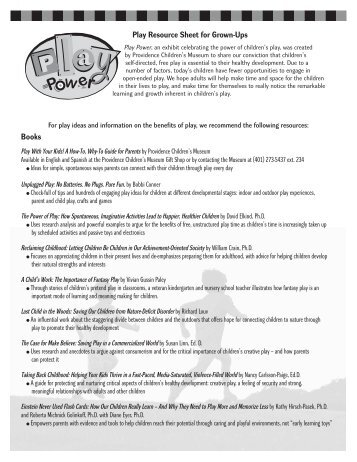 Play Resource Sheet for Grown-Ups Books - Providence Children's ...