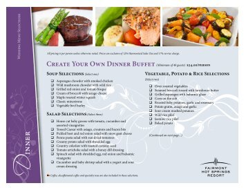Wedding Catering Menu - Fairmont Hot Springs Resort