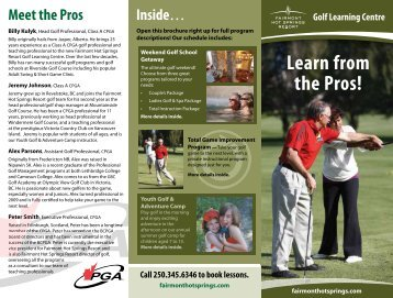 Golf Learning Centre Schedule 2011 inside - Fairmont Hot Springs ...
