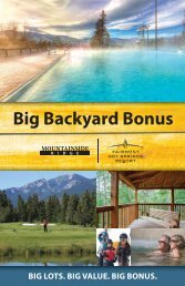Big Backyard Bonus - Fairmont Hot Springs Resort