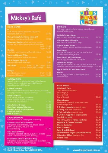 full menu - Kids Play Land