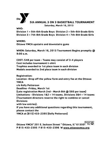 For 3 vs 3 basketball tournament registration form 4rd annual 3 on 3 basketball tournament ottawa ymca pronofoot35fo Gallery