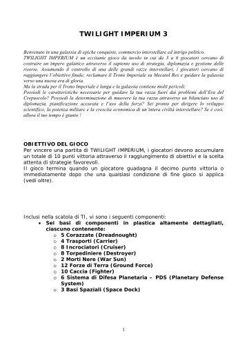 Twilight Imperium 3a edizione: regolamento italiano - La Tana dei ...