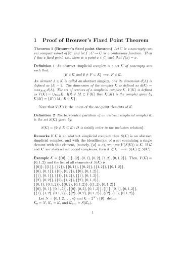 1 Proof of Brouwer's Fixed Point Theorem