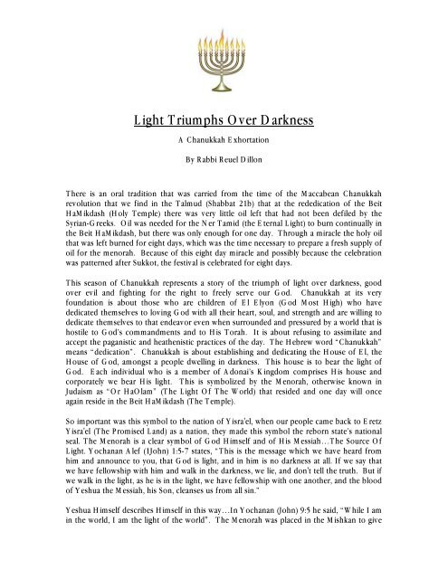 Light Triumphs Over Darkness - Synagogue Chavurat HaMashiach
