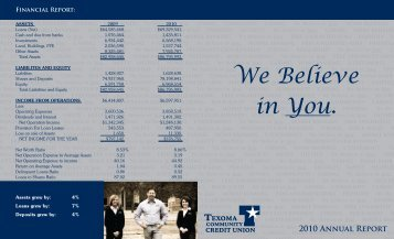 Annual Report 2010 - Texoma Community Credit Union