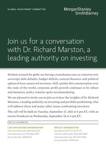 Join us for a conversation with Dr. Richard Marston, a leading ...