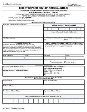 Direct Deposit SignUp Form Canada  Social Security
