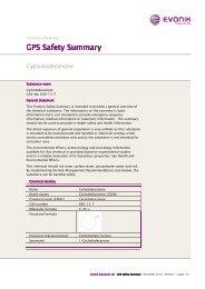 GPS Safety Summary GPS Safety Summary - Evonik Industries AG