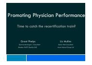 Promoting Physician Performance - Royal Australasian College of ...