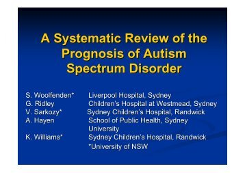 A Systematic Review of the Prognosis of Autism Spectrum Disorder