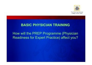 BASIC PHYSICIAN TRAINING How will the PREP Programme ...
