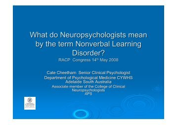 What do Neuropsychologists mean by the term Nonverbal Learning ...