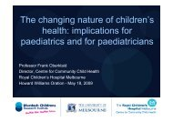 The changing nature of children's health - Tour Hosts Pty Limited