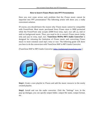 How to Insert iTunes Music into PPT Presentation ... - M4P to MP3