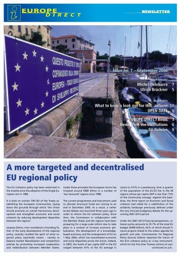 A more targeted and decentralised EU regional policy - What's new?