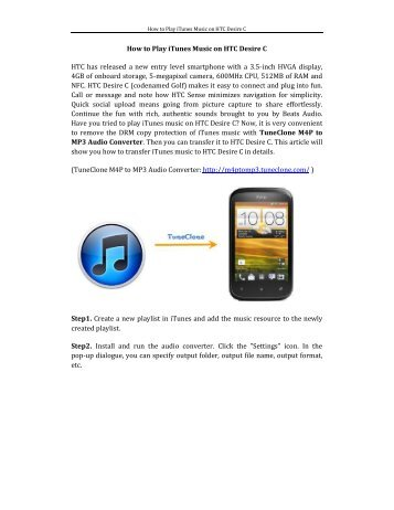 How to Play iTunes Music on HTC Desire C HTC has ... - M4P to MP3