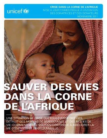 sauver des vies dans la corne de l'afrique - UNICEF Canada