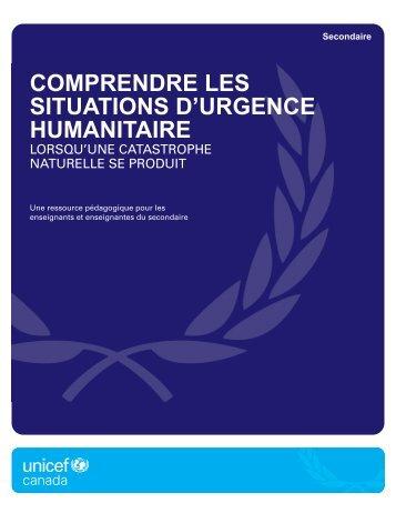 Lorsqu'une catastrophe se produit - UNICEF Canada