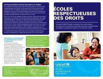 ÉCOLES RESPECTUEUSES DES DROITS - UNICEF Canada