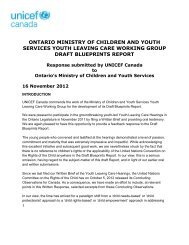 ontario ministry of children and youth services ... - UNICEF Canada