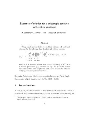 Existence of solution for a anisotropic equation with critical exponent ...