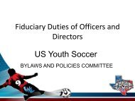 Fiduciary Duties of Officer and Directors - US Youth Soccer